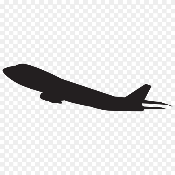 Hand drawn Airplane silhouette isolated on transparent background PNG
