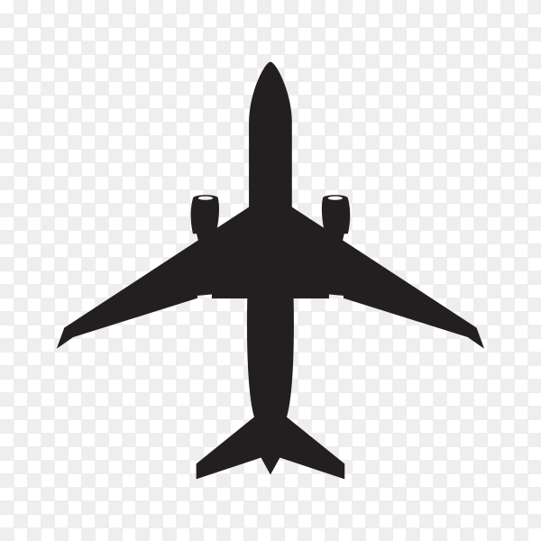 Hand drawn Airplane silhouette on transparent background PNG