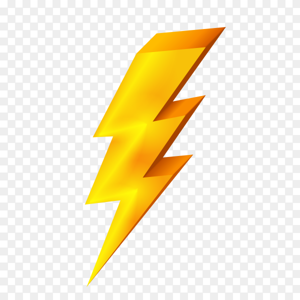 Hand drawn Gold lightning icon on transparent background PNG