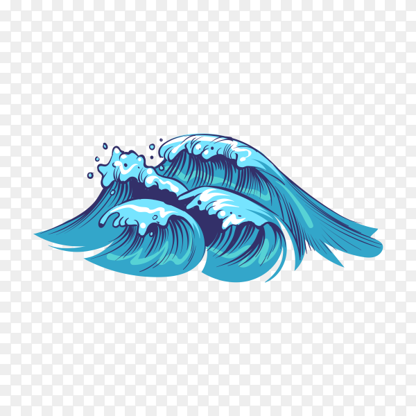 Hand drawn abstract waves on transparent background PNG