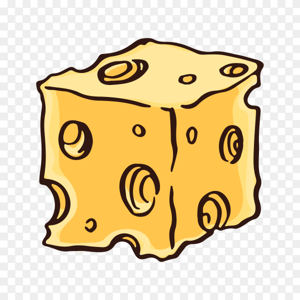 Hand drawn cheese on transparent background PNG