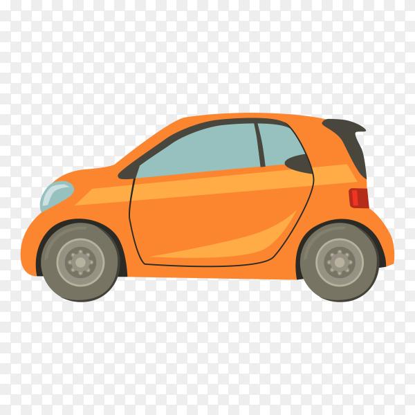 Hand drawn modern orange car on transparent background PNG