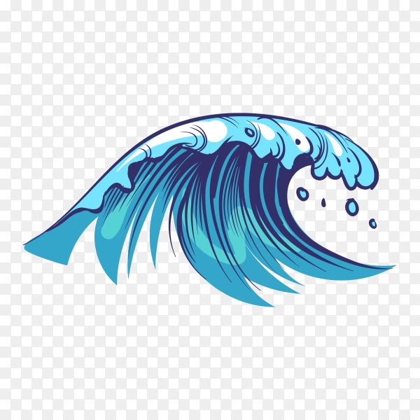Hand drawn ocean waves illustration on transparent background PNG