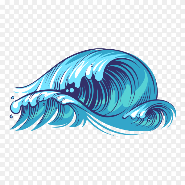 Hand drawn ocean waves isolated on transparent background PNG