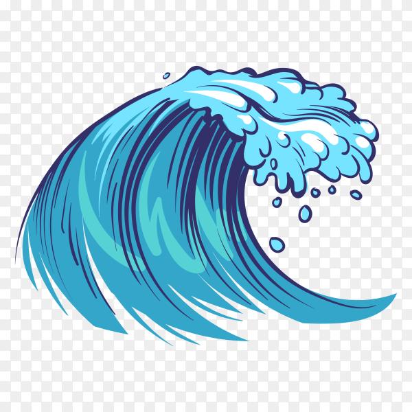 Hand drawn ocean waves. sketch sea waves tide splash on transparent background PNG