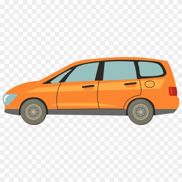 Hand drawn orange car on transparent background PNG