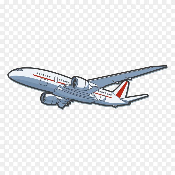 Hand drawn plane illustration on transparent background PNG