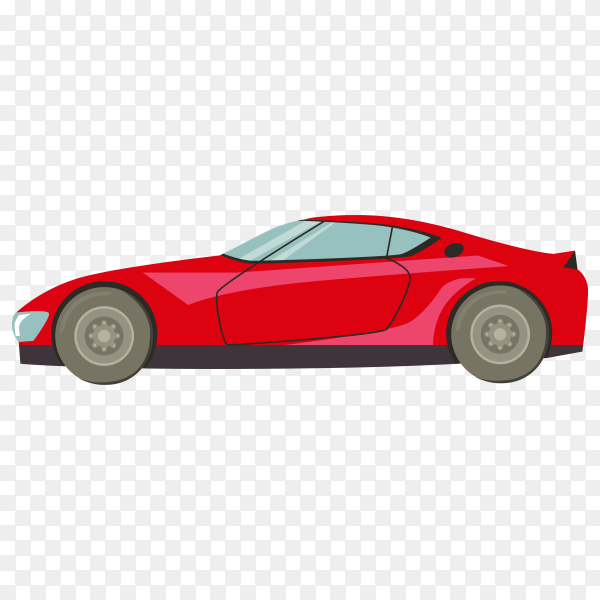 Hand drawn red car on transparent background PNG