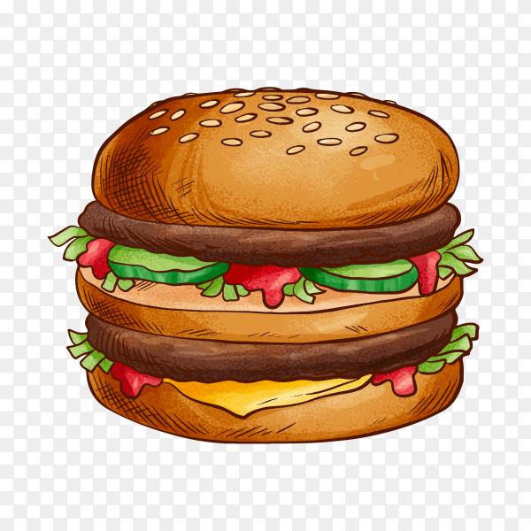 Hand drawn tasty burger on transparent background PNG