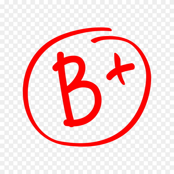 Hand drawn vector grade in red circle. test exam mark report on transparent background PNG