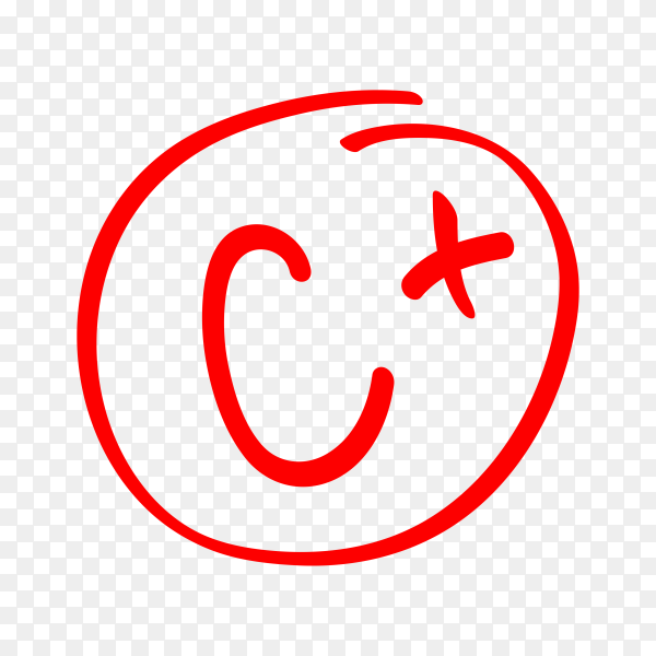 Hand drawn vector grade in red circle. test exam mark report isolated on transparent background PNG