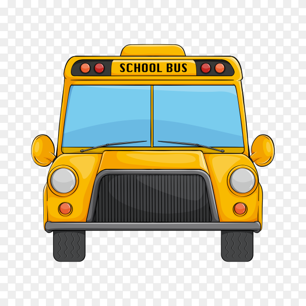 Hand drawn yellow bus on transparent background PNG