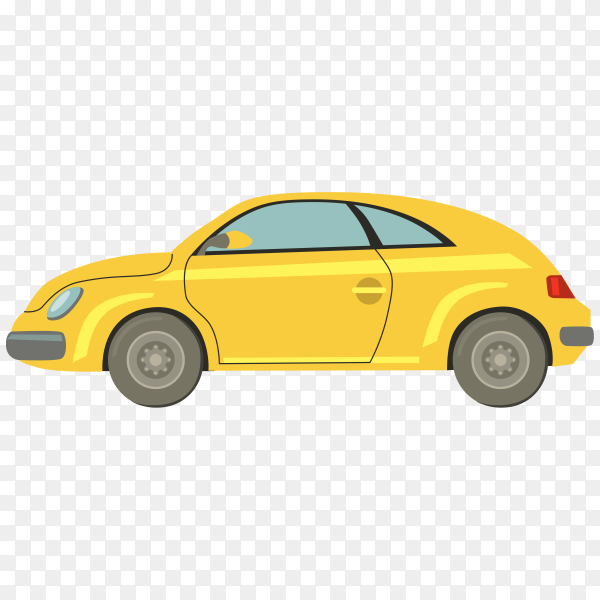 Hand drawn yellow car on transparent background PNG