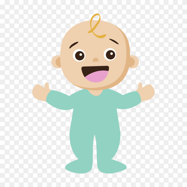 Happy baby on transparent background PNG