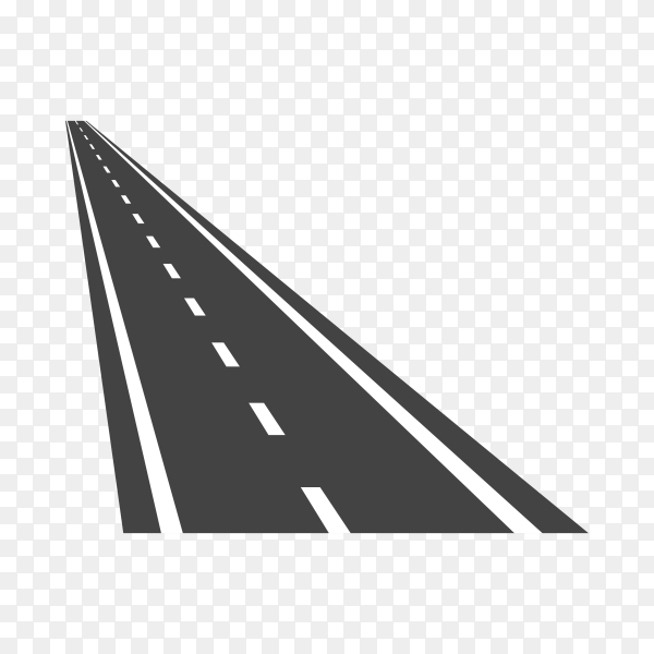 Isolated black color road or highway with dividing marking on transparent background PNG