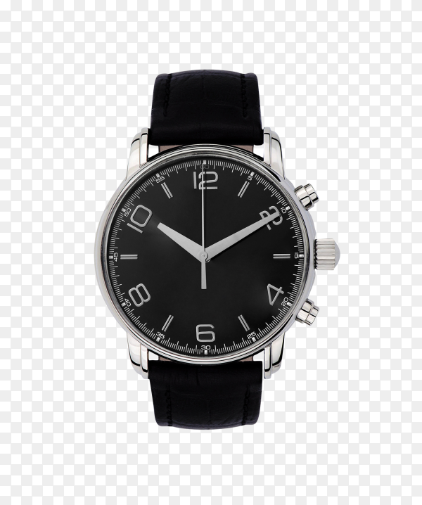 Luxury watch with leather wrist band isolated on transparent background PNG