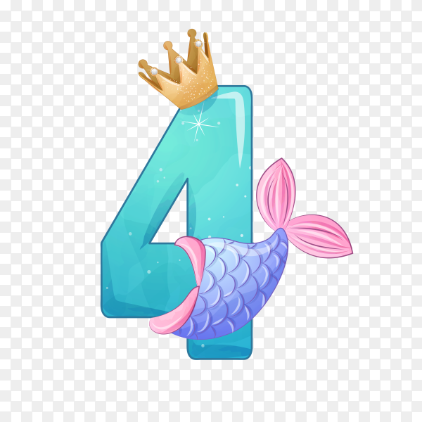 Number Four shaped Cute mermaid for birthday party on transparent background PNG