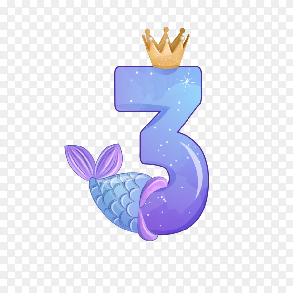 Number Three shaped Cute mermaid for birthday party on transparent background PNG