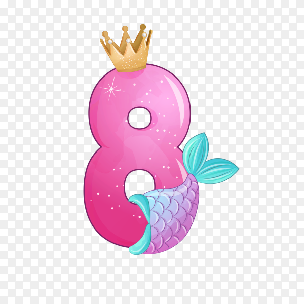 Number eight shaped Cute mermaid for birthday party on transparent background PNG