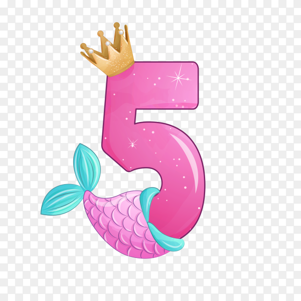Number five shaped Cute mermaid for birthday party on transparent background PNG