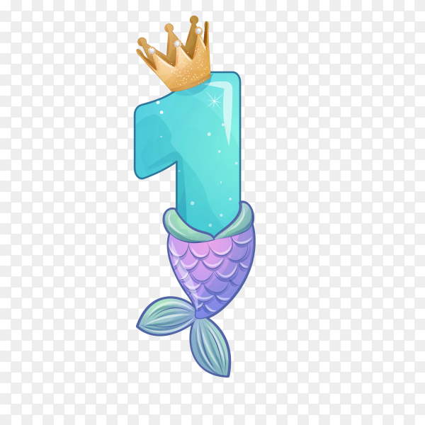Number one shaped Cute mermaid for birthday party on transparent background PNG