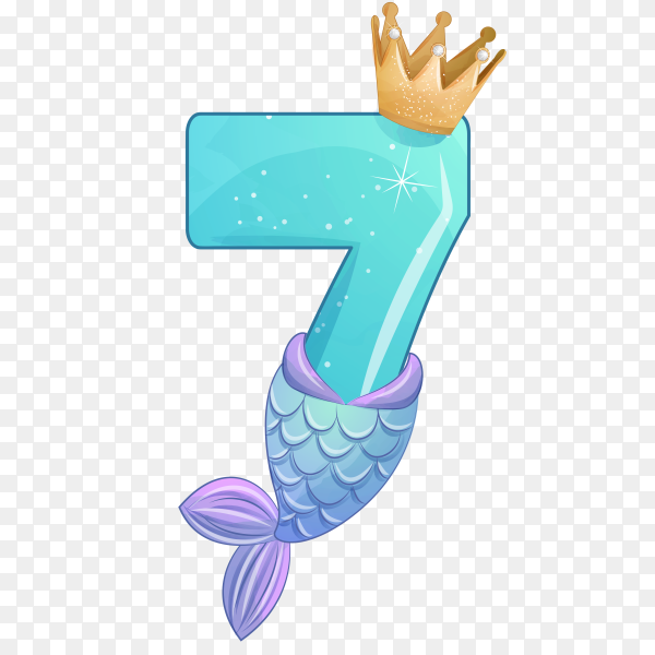 Number seven shaped Cute mermaid for birthday party on transparent background PNG