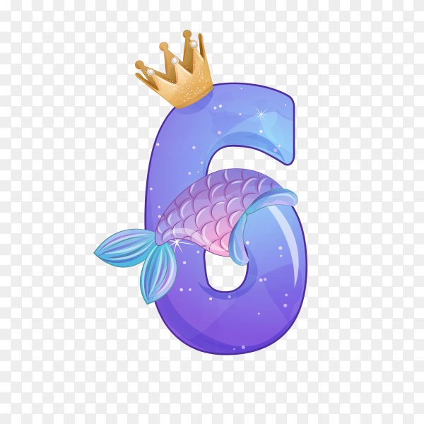 Number six shaped Cute mermaid for birthday party on transparent background PNG