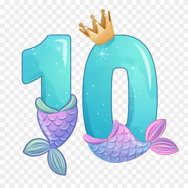 Number ten shaped Cute mermaid for birthday party on transparent background PNG