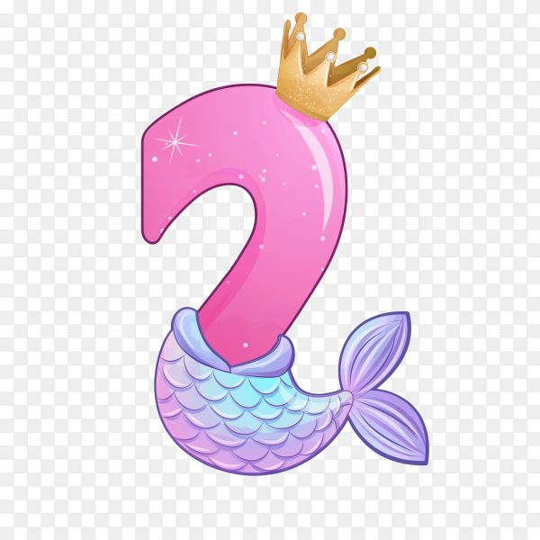 Number two shaped Cute mermaid for birthday party on transparent background PNG
