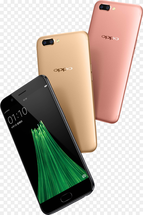 Oppo mobile phone isolated on transparent background PNG