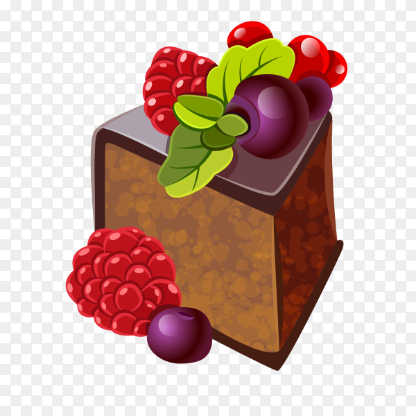 Piece of cake with chocolate on transparent background PNG