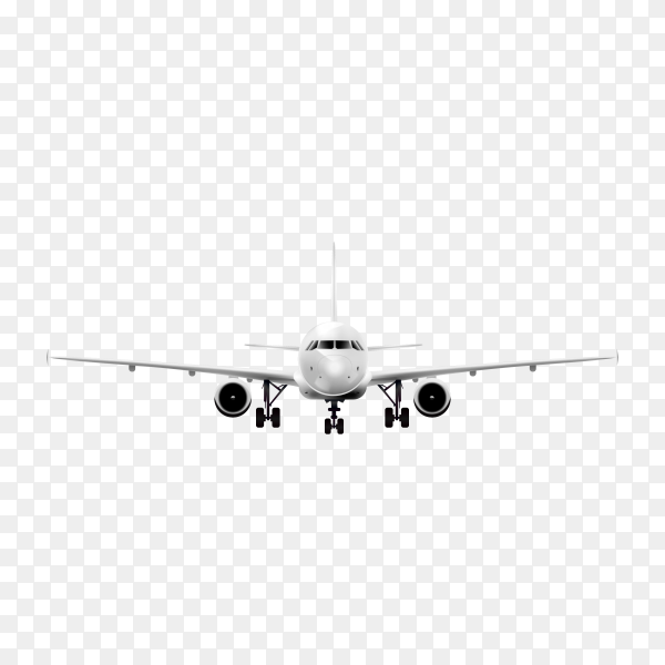 Realistic plane on transparent background PNG