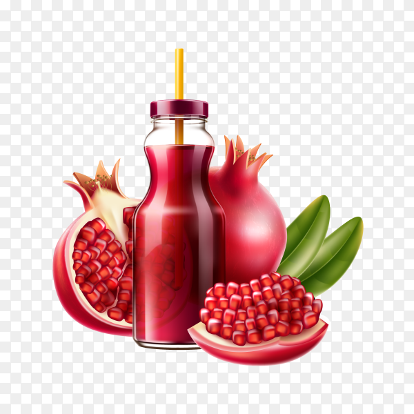 Realistic pomegranate juice bottle a fruits on transparent background PNG