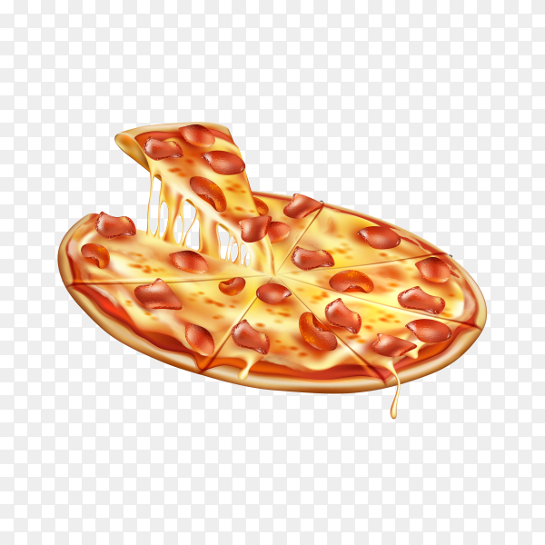 Realistic round juicy pizza with cheese pepperoni on transparent background PNG