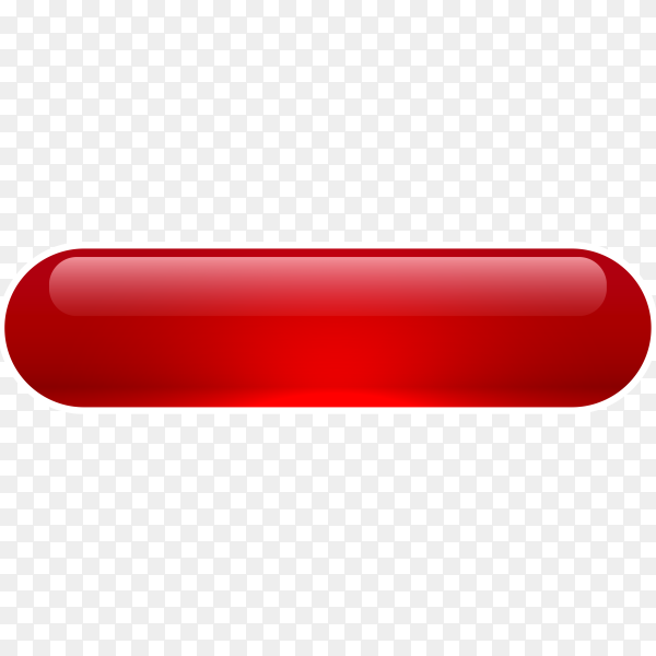 Red Glossy web button on transparent background PNG