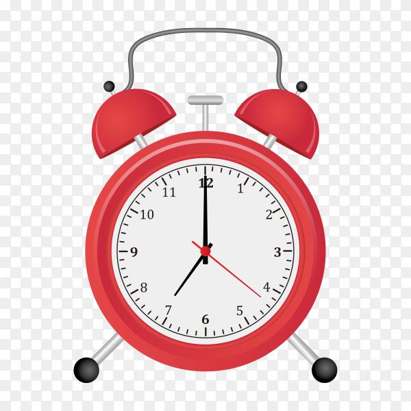 Red alarm clock on transparent background PNG