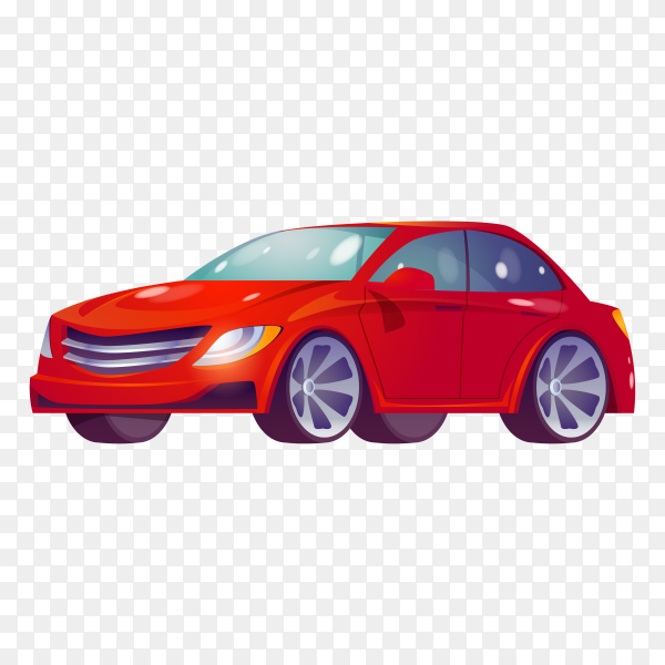 Red car isolated on transparent background PNG