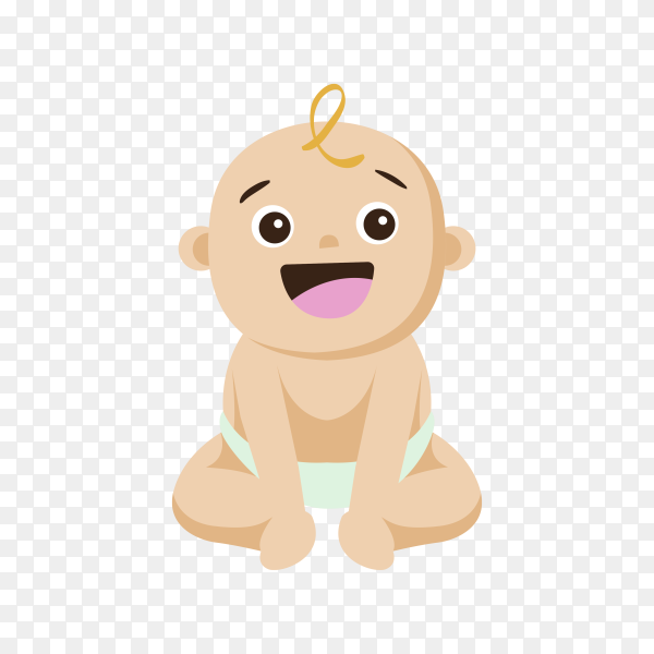 Smiling baby isolated on transparent background PNG