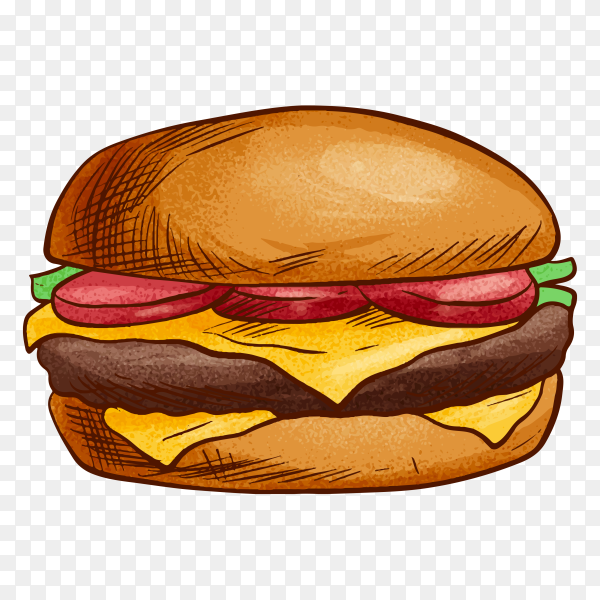 Tasty burger with cheese on transparent background PNG
