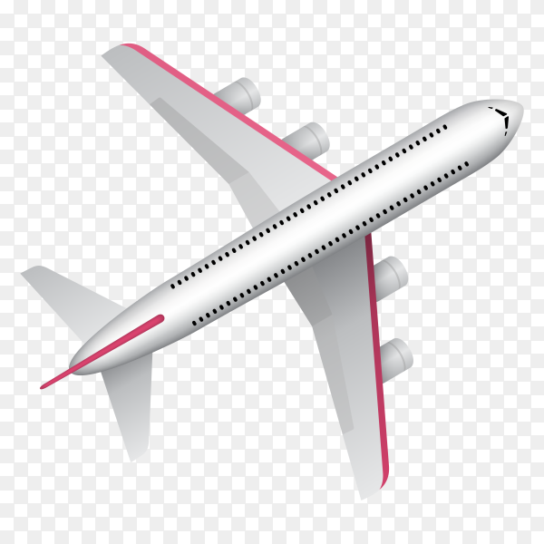 Travel banner with airplane on transparent background PNG
