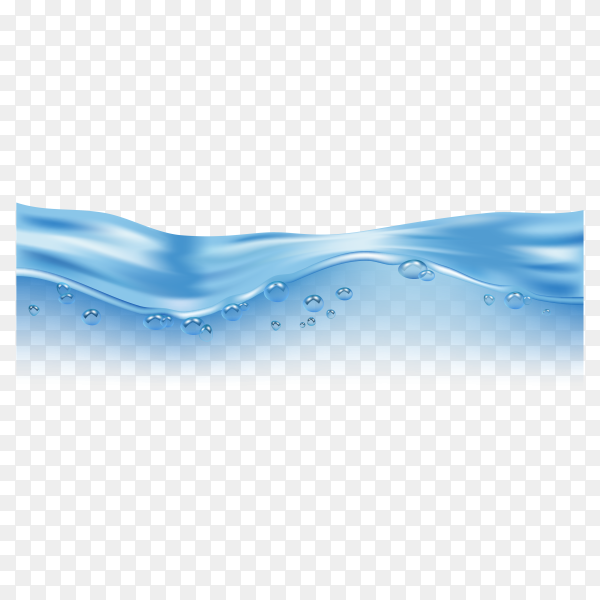 Wave realistic splashe. liquid water surface with bubbles and splashes ocean or sea on transparent background PNG