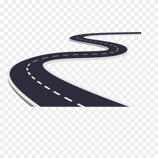 Winding road isolated on transparent background PNG