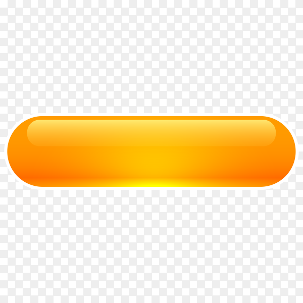 Orange Glossy web button on transparent background PNG