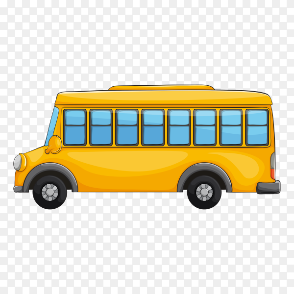 Yellow bus on transparent background PNG