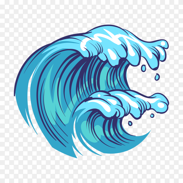 Hand drawn abstract ocean waves on transparent background PNG